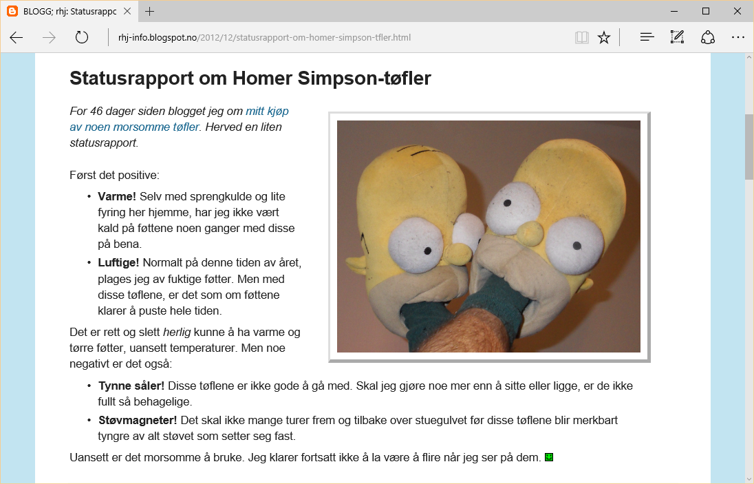 Statusrapport om Homer Simpson-tøfler